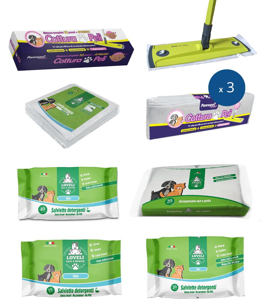 Kit per la pulizia di cani e gatti – 9 pz
