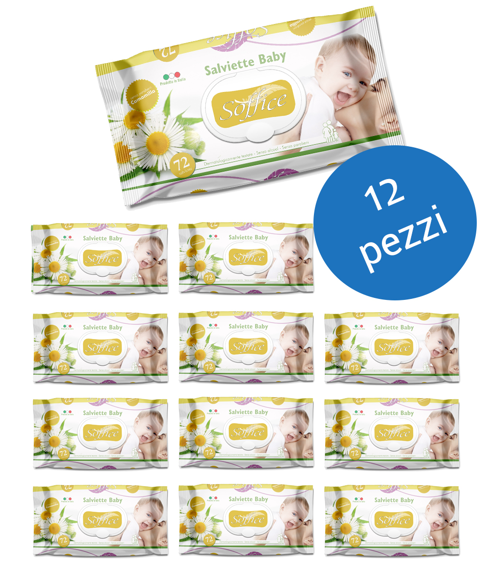 Salviette bambini alla camomilla Scorta convenienza 12 confezioni