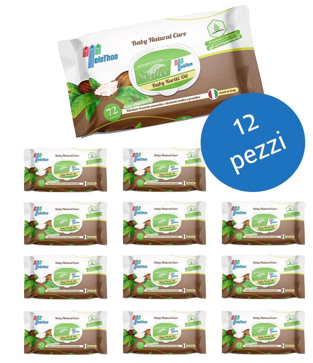 Salviette bambini all'olio di Karitè Scorta convenienza 12 confezioni