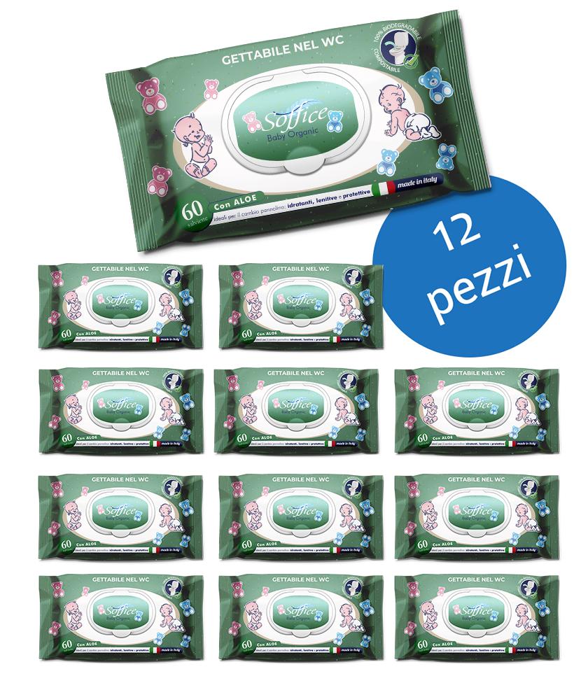 Salviette neonati cotone biodegradabili scorta convenienza 12 confezioni