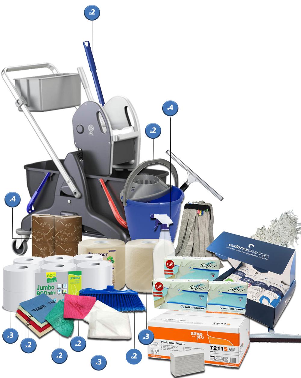 <span class='p-name'>Kit completo imprese pulizie con carrello a doppia vasca &#8211; 39 prodotti</span>