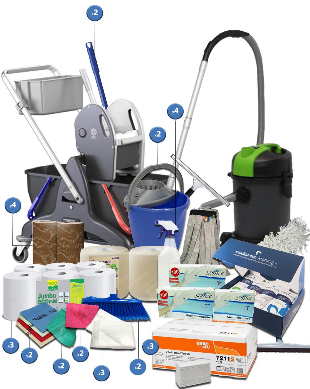 <span class='p-name'>Kit completo imprese pulizie con carrello doppia vasca e aspirapolvere &#8211; 40 prodotti</span>