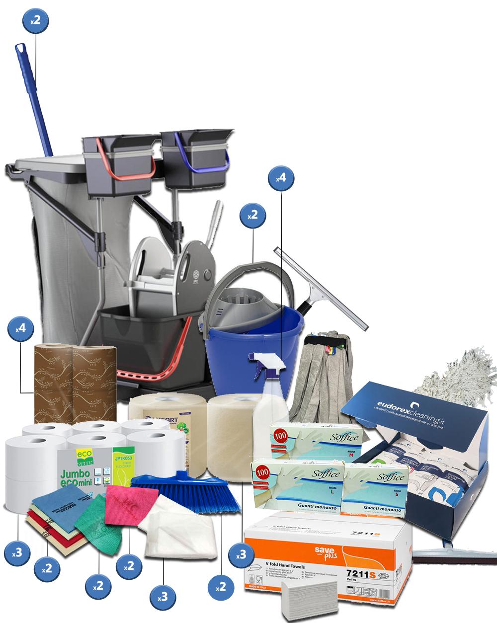 <span class='p-name'>Kit completo imprese pulizie con carrello completo – 39 prodotti</span>