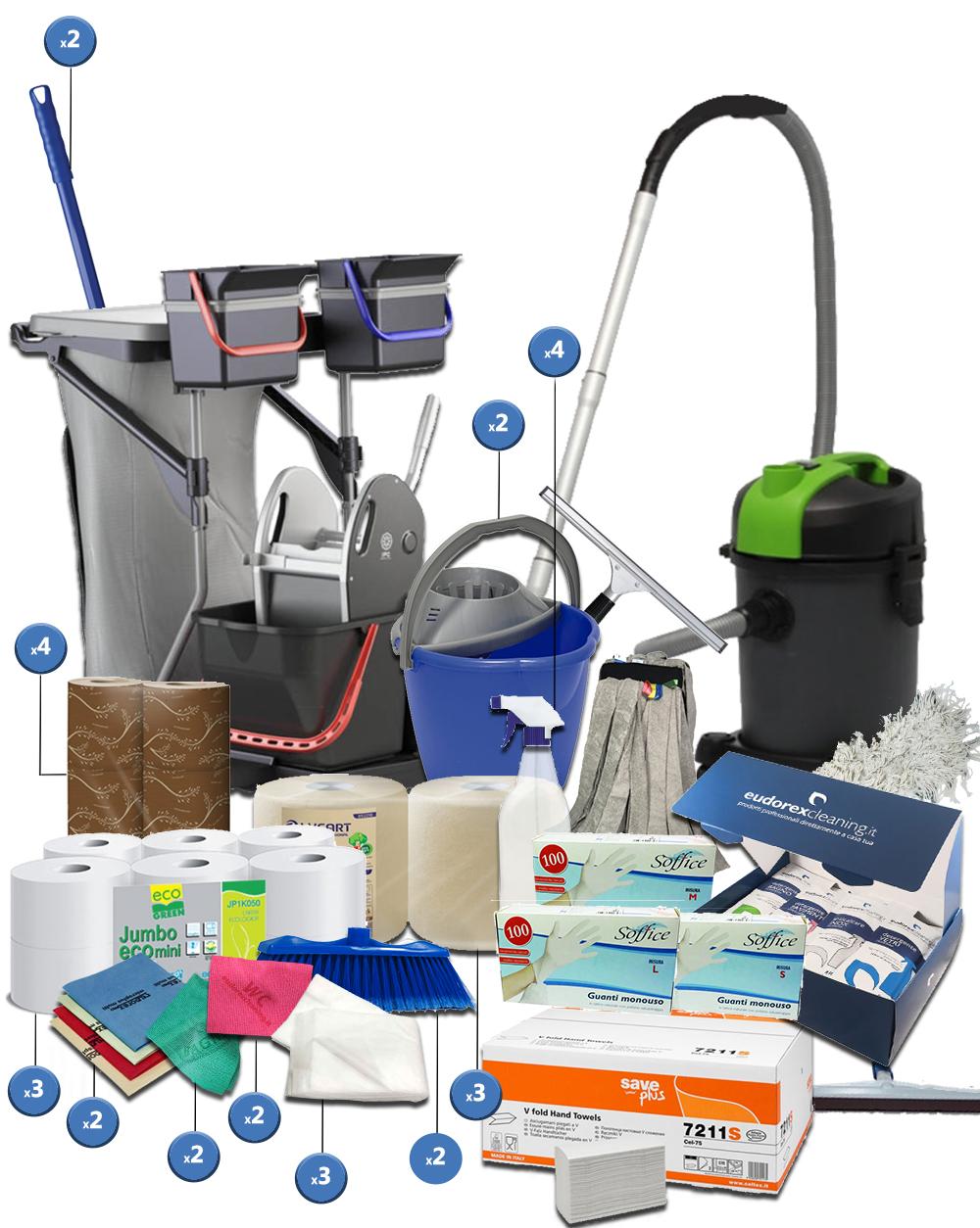 <span class='p-name'>Kit completo imprese pulizie con carrello completo e aspirapolvere &#8211; 40 prodotti</span>