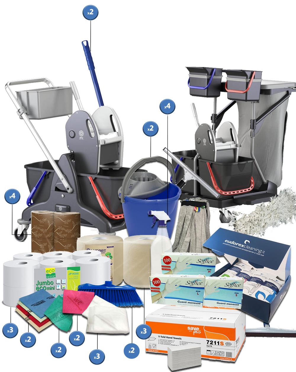 <span class='p-name'>Kit completo imprese pulizie con due carrelli – 40 prodotti</span>